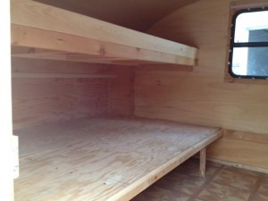 View of Bunk Area Inside Teardrop Trailer